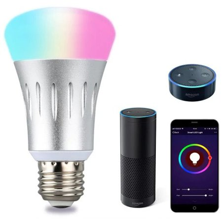 Lampwin WIFI Smart LED Bulb, Works with Amazon Alexa, E27 Dimmable Multicolored LED for iOS Android, App Control / Voice Control, Home