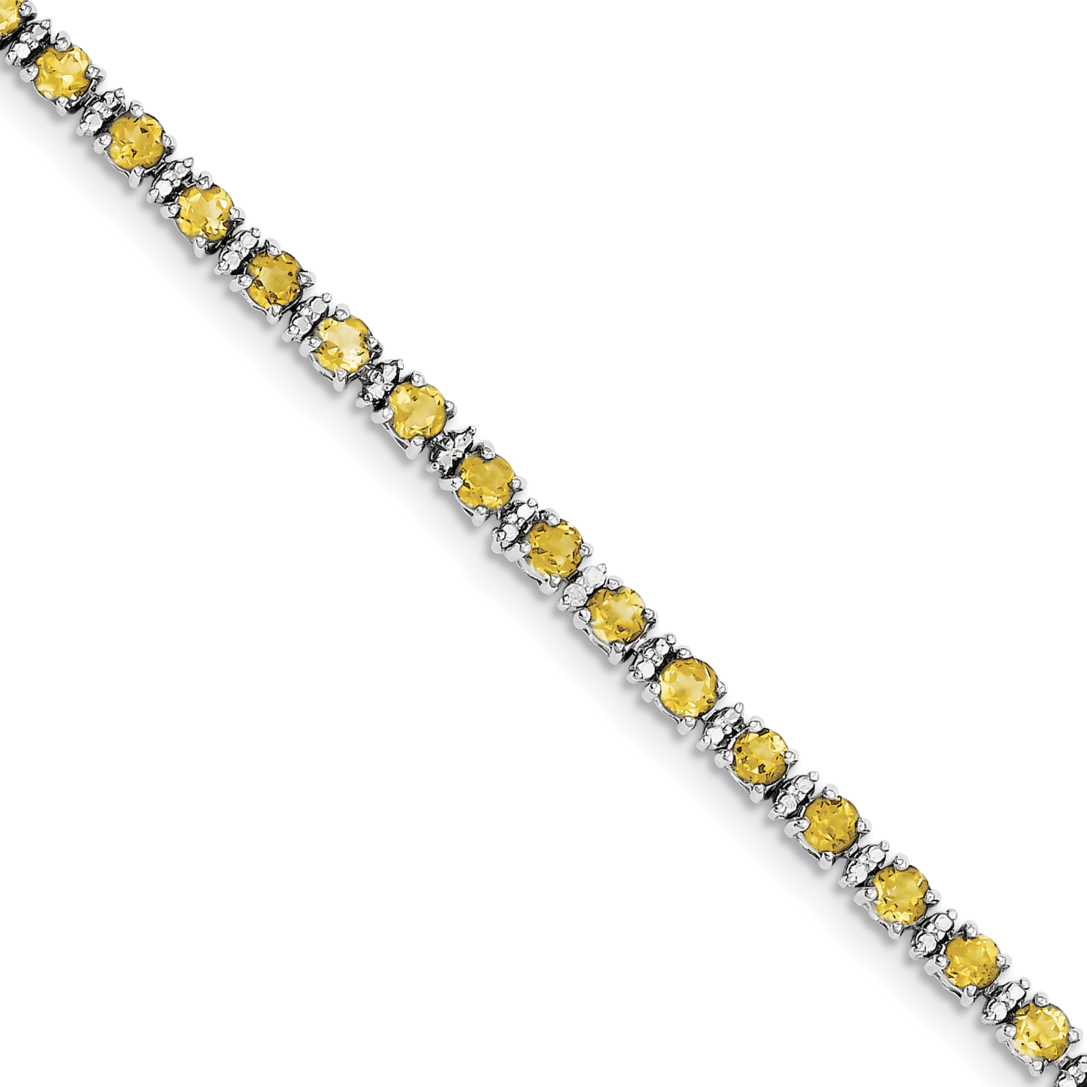 925 Sterling Silver Rhodium-plated Citrine and Diamond Bracelet by