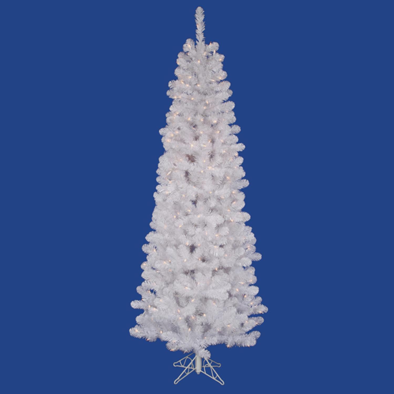 5.5' Pre-Lit White Salem Artificial Pencil Christmas Tree- Warm Clear LED Lights