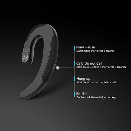 Bluetooth V4.2 Headphones Non Ear Plug Wireless Bluetooth Headset Small Noise Cancelling Earbuds Ear-Hook Painless Wearing Sport Earphones for iPhone and Android Smartphones - image 1 de 10
