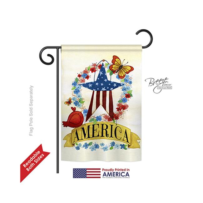 Breeze Decor 61073 Patriotic America Banner Star 2-Sided Impression Garden Flag - 13 x 18.5 in. - image 1 of 1