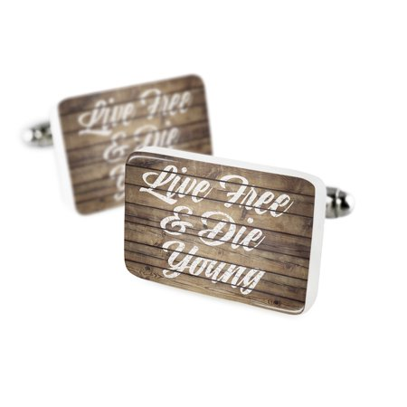 Cufflinks Painted Wood Live Free & Die Young Porcelain Ceramic NEONBLOND