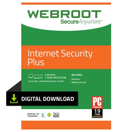 Webroot Internet Security Plus + Antivirus | 3 Device | 1 Year | PC