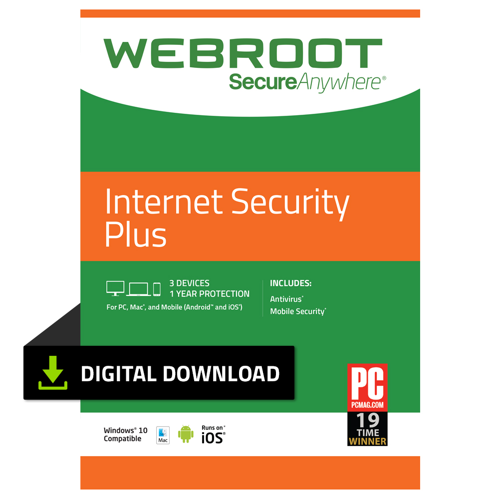 Webroot Internet Security Plus + Antivirus | 3 Device | 1 Year | PC Download