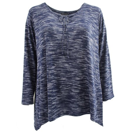 - Woman Long Sleeve Asymmetrical Hem Plus Size Blouse T Shirt Knit Top Tee Navy 1X (17050)