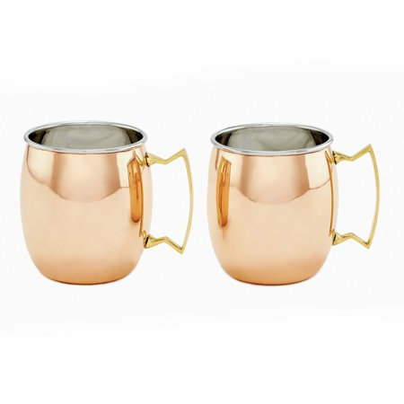 Two-Ply Solid Copper/Stainless Steel Moscow Mule Mugs, 16 Oz., Set of 2 ()