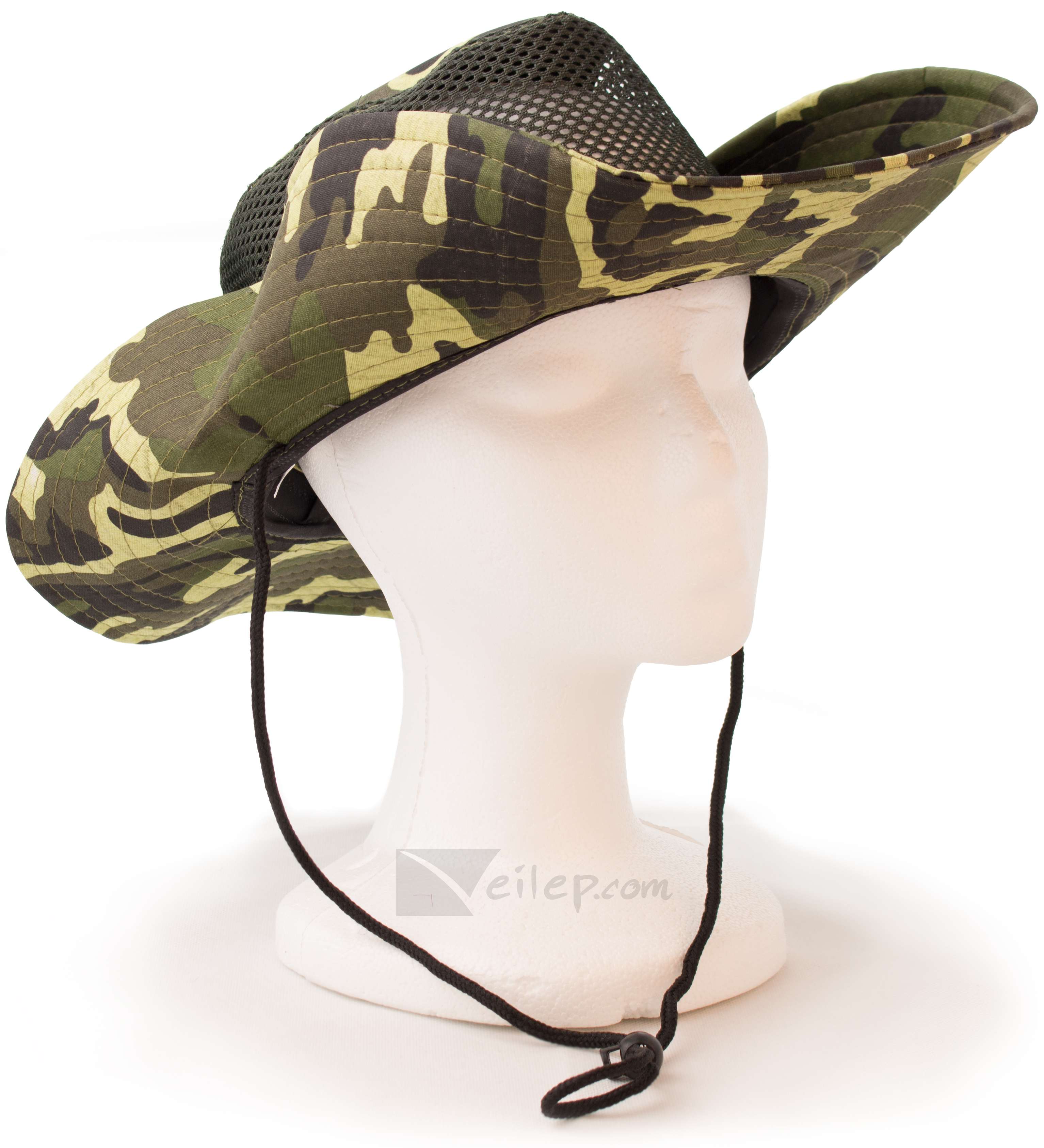 "Hayes Camo Military Hunting Boonie Hat with Chinstrap, 22"" Cir, Green"