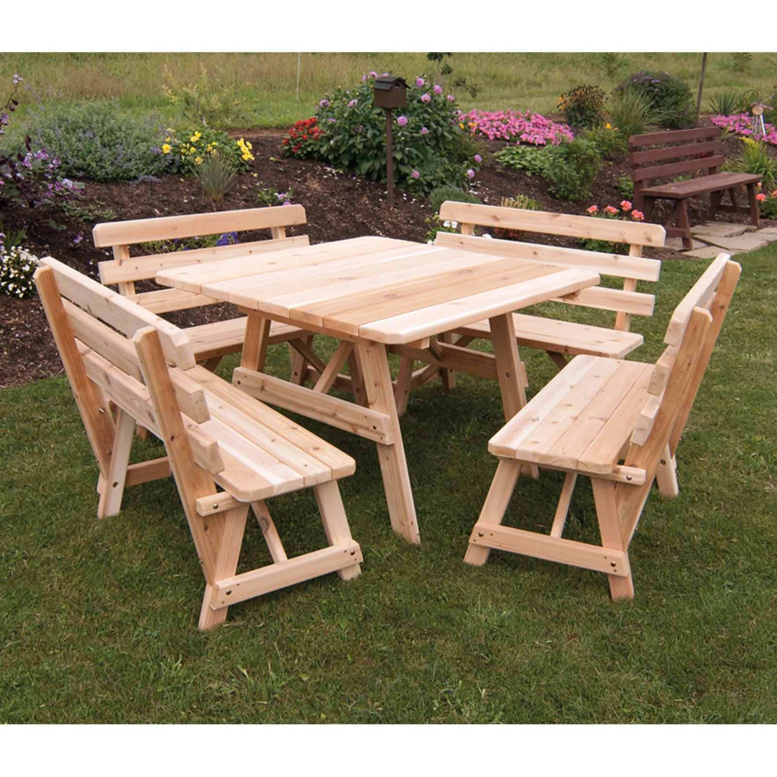 A & L Furniture Western Red Cedar 5 pc. 43 in. Square Table Set with 4 Backed Benches and Optional Umbrella... by A and L Furniture Co