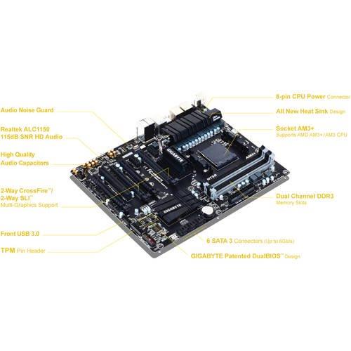 GIGABYTE GA-990FXA-UD3 R5 AM3+/AM3 AMD 990FX SATA 6Gb/s USB 3.0 ATX
