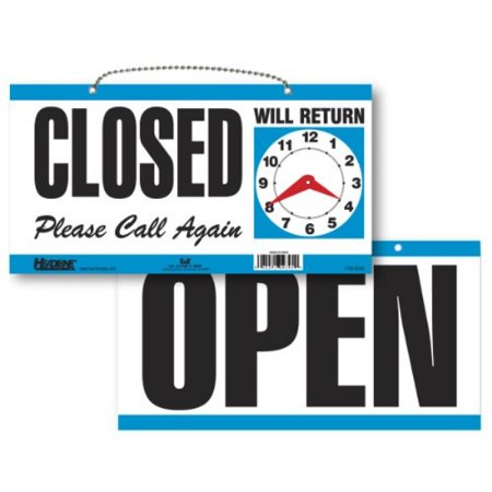 Headline Sign 9395 Double Sided Open Closed Will Return Sign With Clock Hands  6 Inches By 11 5 Inches