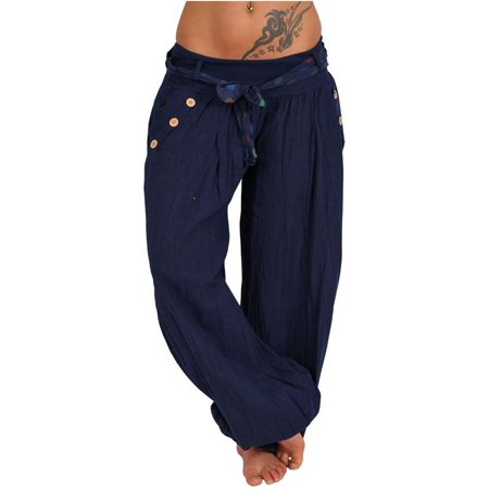Solid Women Loose Elastic Waist Drawstring Harem Pants