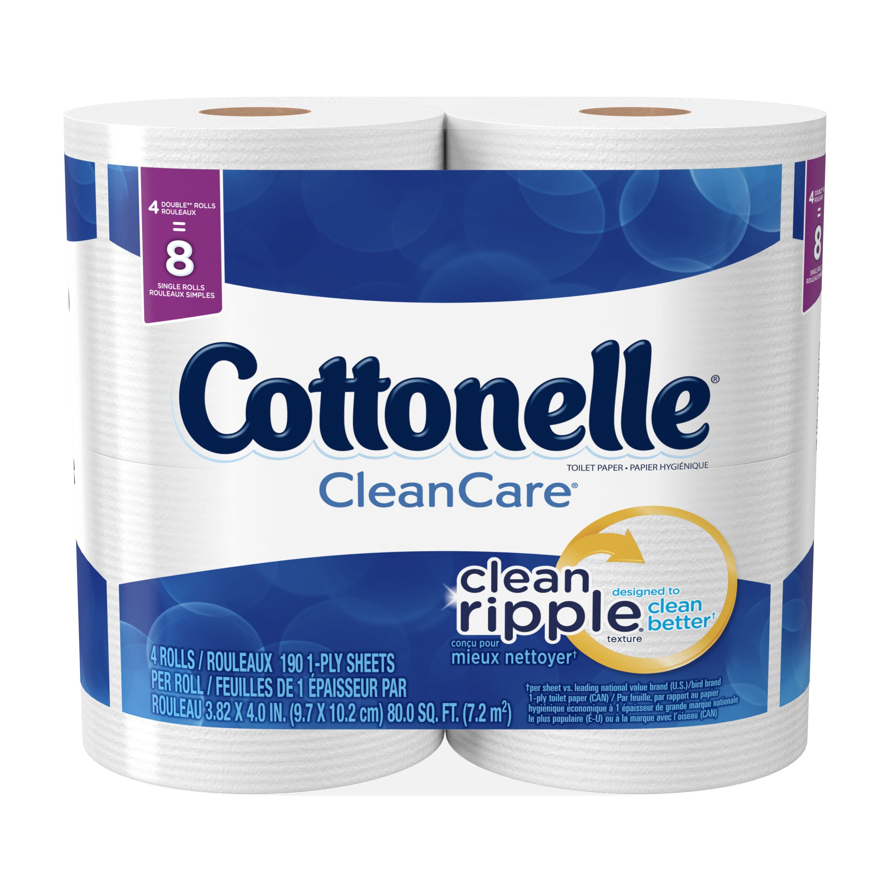 Cottonelle Clean Care Toilet Paper Double Rolls, 190 SHeets per Roll, 4 Rolls by KIMBERLY-CLARK