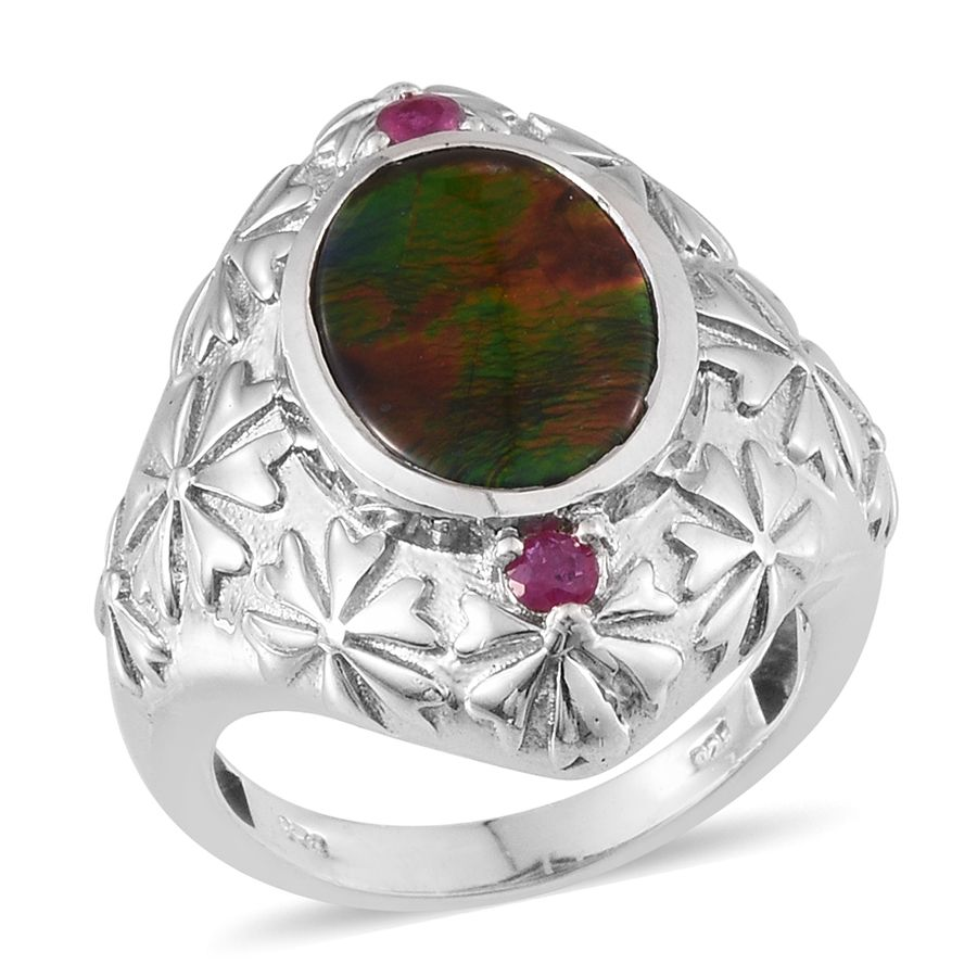 Canadian Ammolite, Ruby Vibrant Platinum Over Sterling Silver Shank Ring (Size 8.0) TGW 4.150 cts. by Shop LC