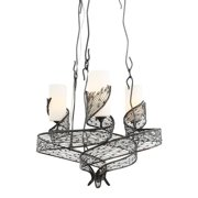 Varaluz - Flow - 3 Light Chandelier - Hammered Ore Finish with Gloss Opal Glass