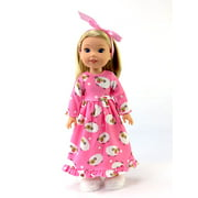 "Pink Fuzzy Lamb Nightgown| Fits 14"" Wellie Wisher Dolls 
