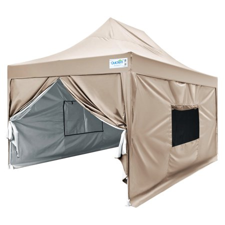 Quictent Privacy 10x15 EZ Pop Up Canopy Party Tent Gazebo with 4 Sidewalls & Mesh Windows Waterproof (Beige)