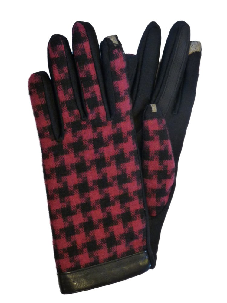 Isotoner Smart Touch Women Pink Plaid Houndstooth Tech Glove Smartouch Text XS/S