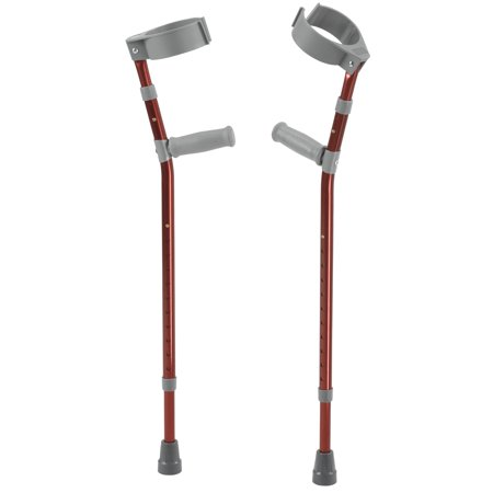 Inspired by Drive Pediatric Forearm Crutches, Small, Castle Red, Pair Drive Steel Forearm Crutches