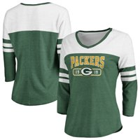 Women's Fanatics Branded Green/White Green Bay Packers Vintage Arch 3/4-Sleeve T-Shirt