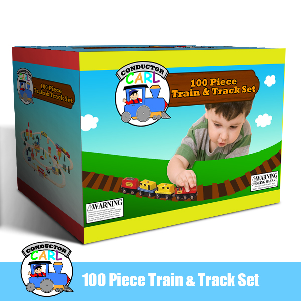 Conductor Carl 100 Piece Wooden Train Set. 100% Compatible with Thomas the Train. Plus FREE Conduct Multi-Colored