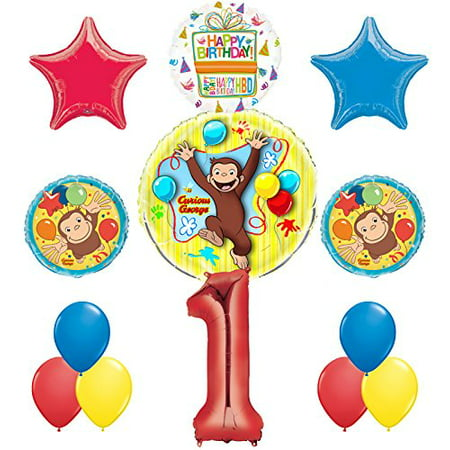 Curious George 1st Birthday Party Supplies Balloon Bouquet Decorations (Curious George Party Decorations)