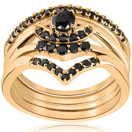 1/2ct 4-Ring Stackable Yellow Gold Heated Black Diamond Wedding Engagement Set