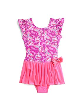 Jojo Siwa by Danskin Diamond Butterfly Printed Ruffle Sleeve Dance Skirted Leotard (Little Girls & Big Girls)