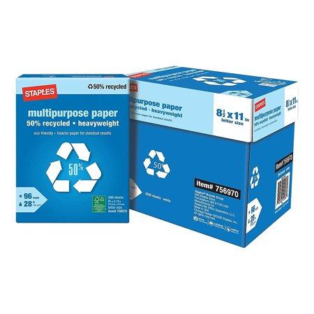 Staples 50% Recycled Heavyweight Multipurpose Paper, Half