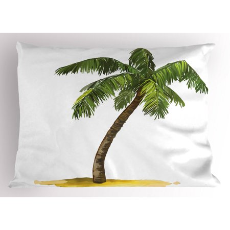 Palm Tree Pillow Sham Cartoon Palm Tree Image Tropical Plant and Sand Serenity Nature Foliage Print, Decorative Standard Size Printed Pillowcase, 26 X 20 Inches, Green Brown, by Ambesonne ()