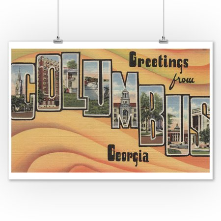 Greetings From Columbus Georgia Yellow 9x12 Art Print Wall Decor Travel Poster