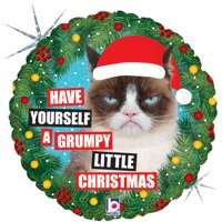 "Betallic Grumpy Cat Have a Grumpy Little Christmas 18"" Foil Balloon"