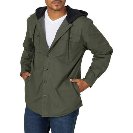 Wrangler Men's Fleece Lined Shirt Jacket No Hassle Linen Shirt Jacket