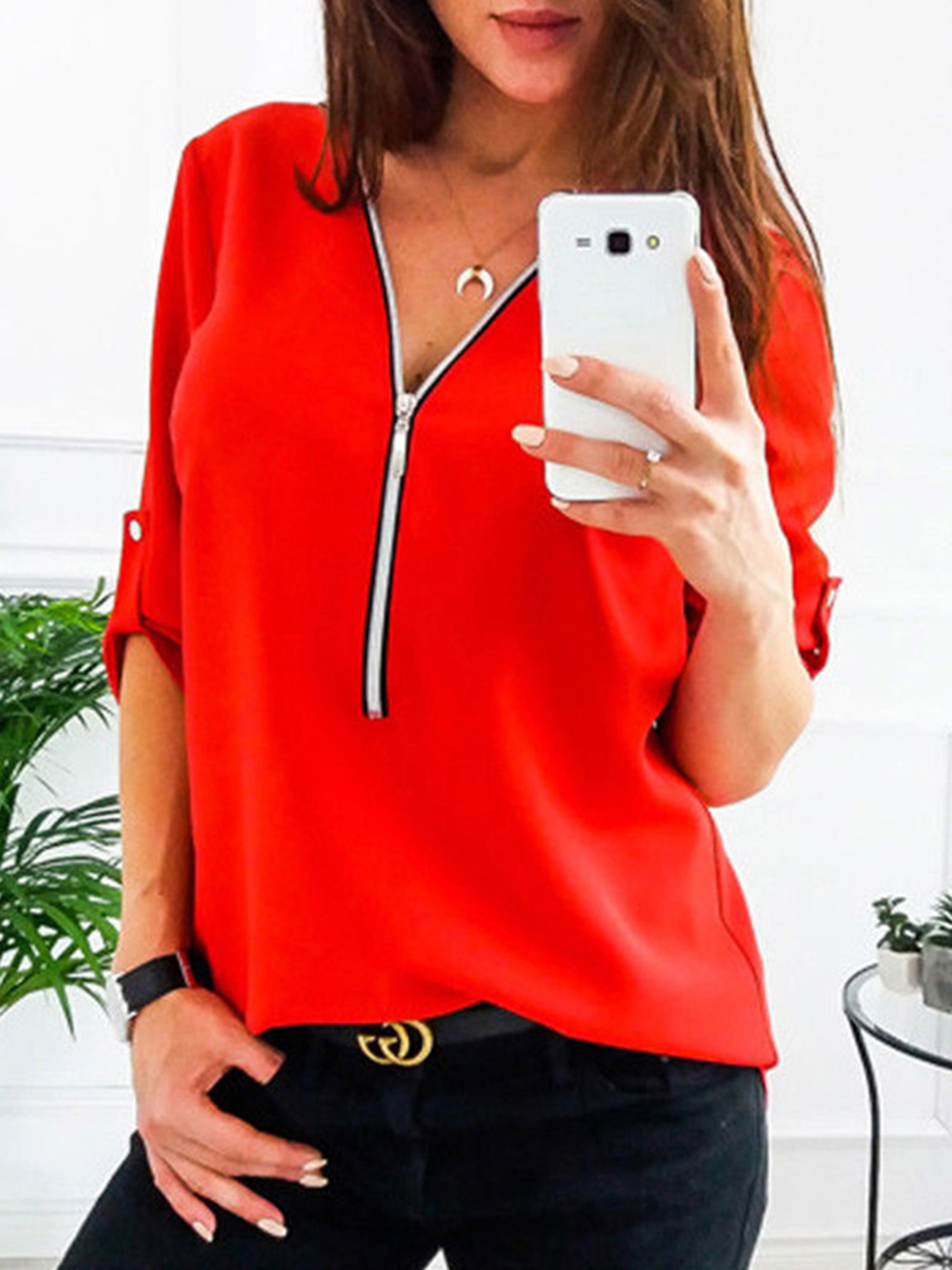 Plus Size S-5XL V Neck Zip up Casual Tops Roll-Up Long Sleeve T-shirts Oversized Loose Ladies Shirt Blouses Fashion Style Top