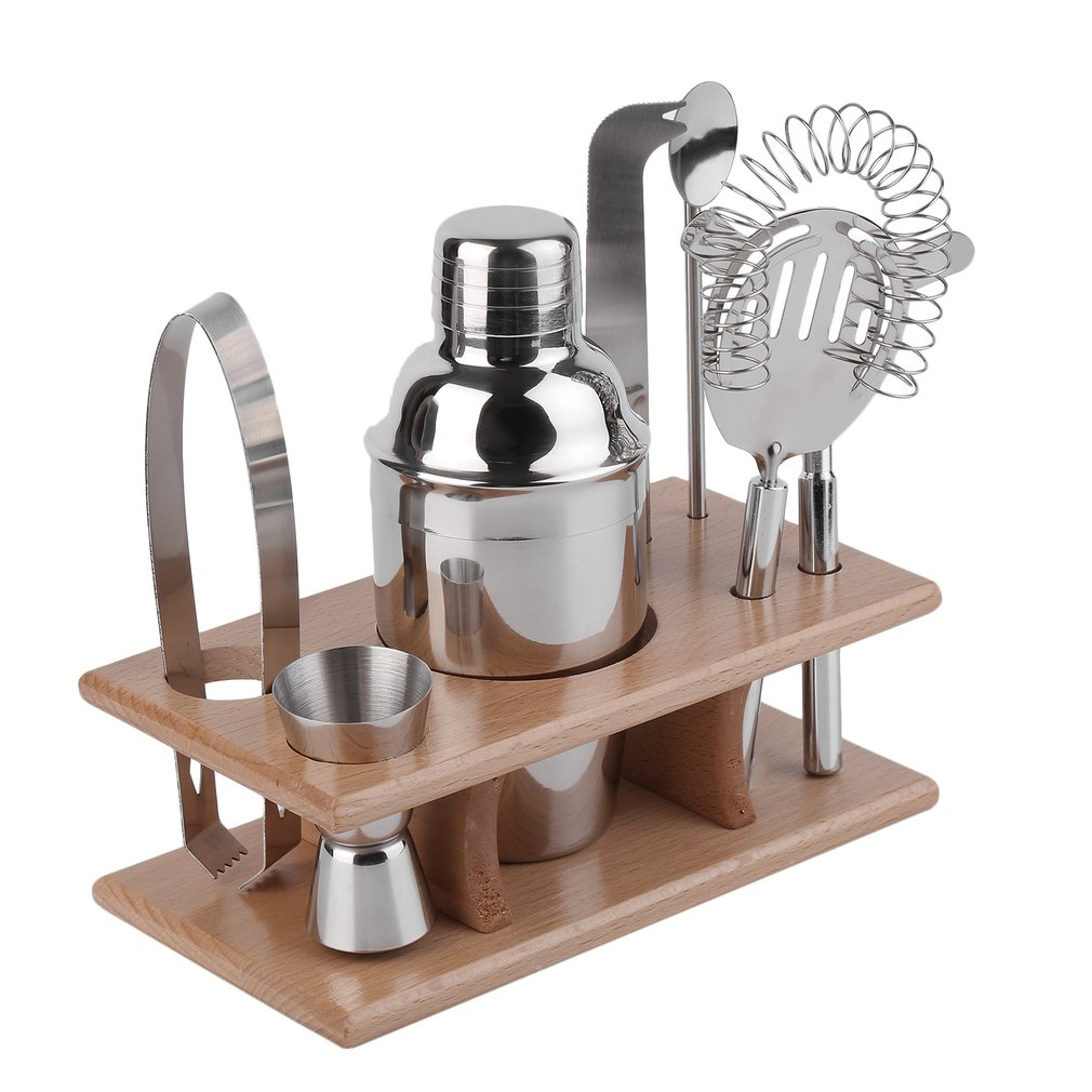 8 Pieces Alcohol Shaker Mixer Professional Stainless-steel Bar Set With Wood Shelf Bartender Martini Tools Kit