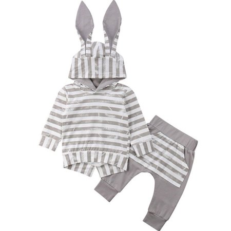 Baby Girls Grey Stripes 3D Bunny Ear Hat Hoodie Top With Long Legging Pant Autumn Outfits - Gray Bunny Ears