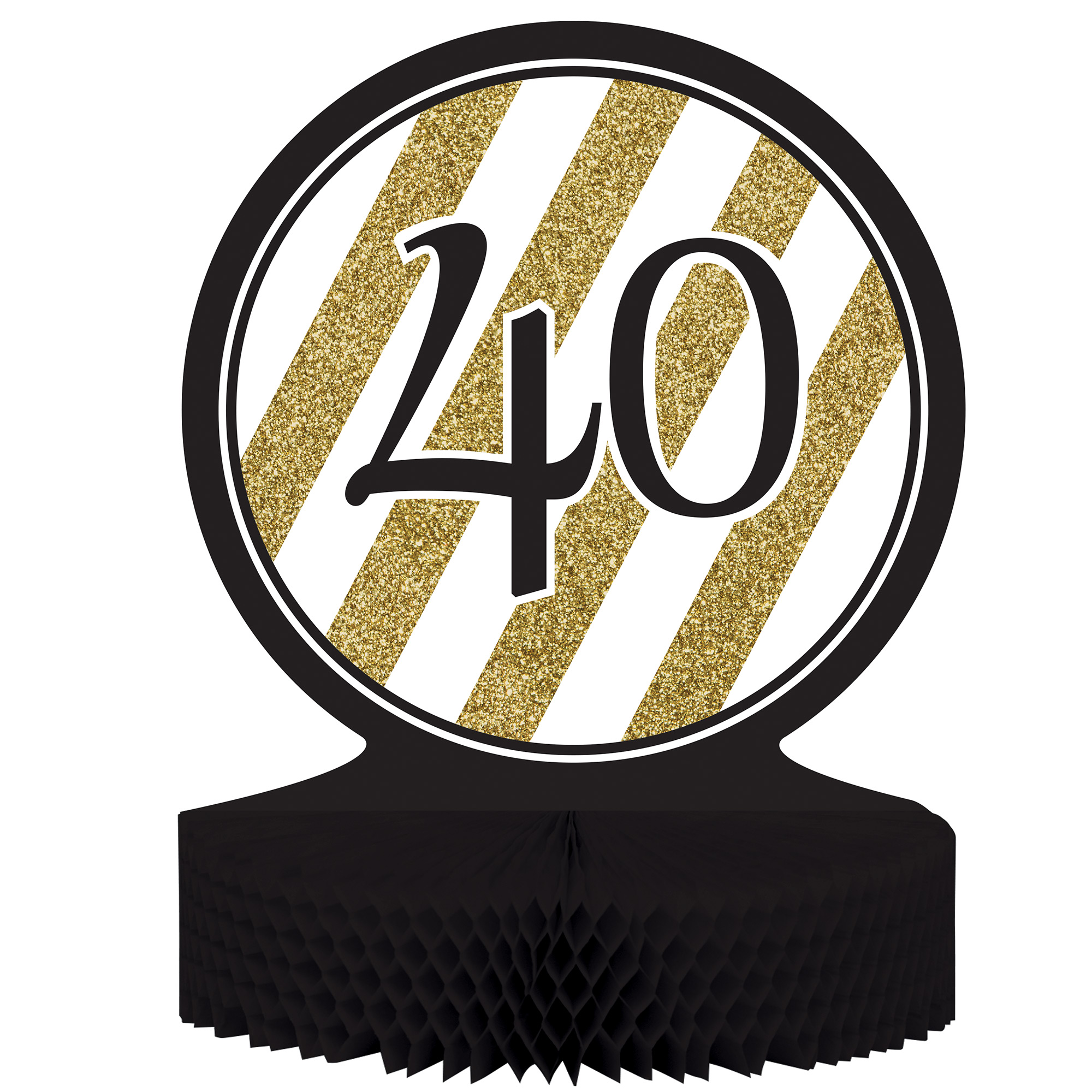 "Black & Gold 40th Birthday Honeycomb Centerpiece 12"" x 9"", Case of 6"