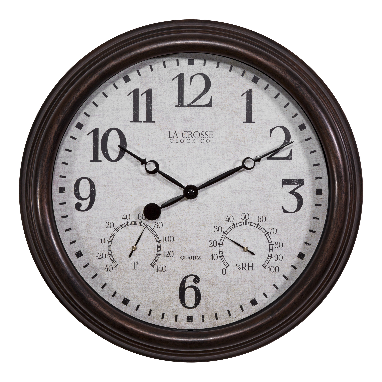"La Crosse Clock 404-3015 15"" Indoor Outdoor Clock with Temperature and Humidity by La Crosse Technology Ltd."