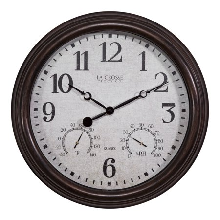 "La Crosse Clock 404-3015 15"" Indoor/Outdoor Clock with Temperature and Humidity"