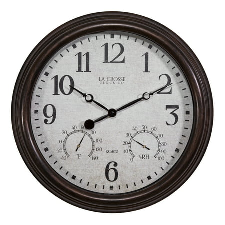 "Image of ""La Crosse Clock 404-3015 15"""" Indoor/Outdoor Clock with Temperature and Humidity"""