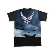 US Armed Forces Air Force USAF Metallic Symbol Adult Black Back T-Shirt