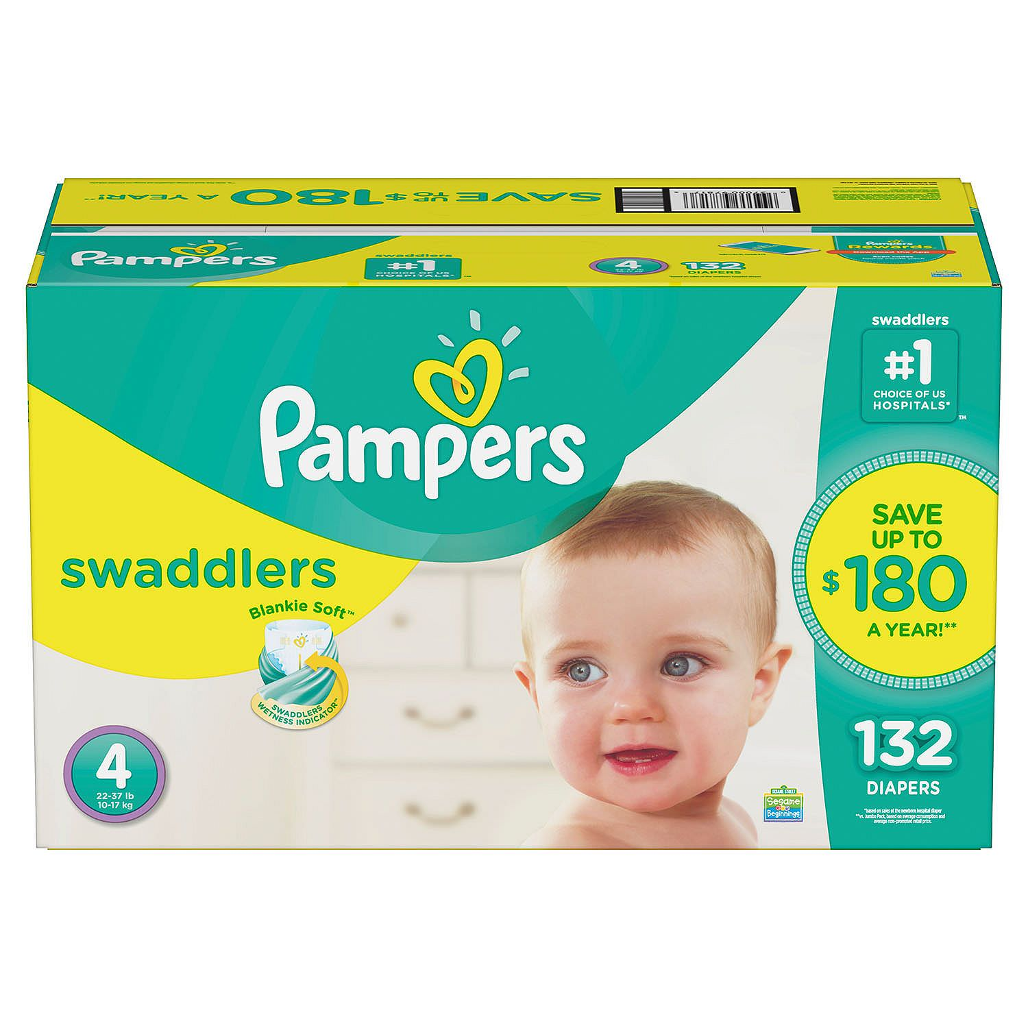 Pampers Swaddlers Diapers Size 4 -132 ct. (22-37 lb.)