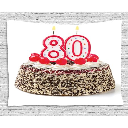 80th Birthday Decorations Tapestry Party Cake With Cherries Sprinkles And Candles Image Wall