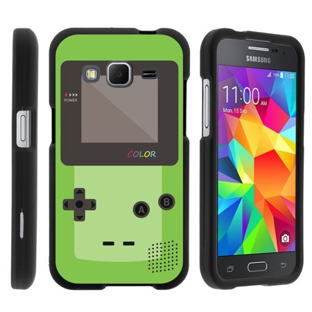 Samsung Galaxy Core Prime G360, [SNAP SHELL][Matte Black] 2 Piece Snap On Rubberized Hard Plastic Cell Phone Cover with Cool Designs - Green Gameboy Color