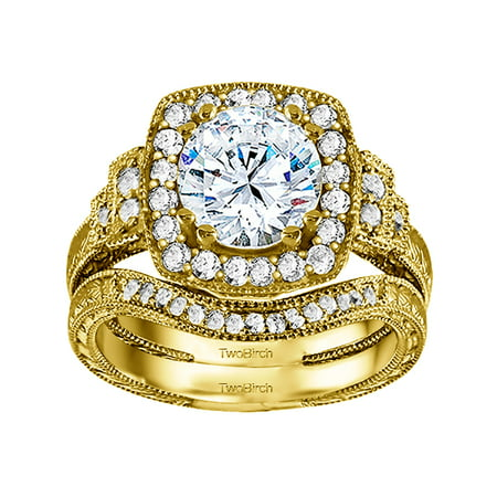 2 Ring Bridal SET:Engagement ring with Diamonds (G,I2) and Moissanite Center in 14k Yellow Gold(2.83tw)