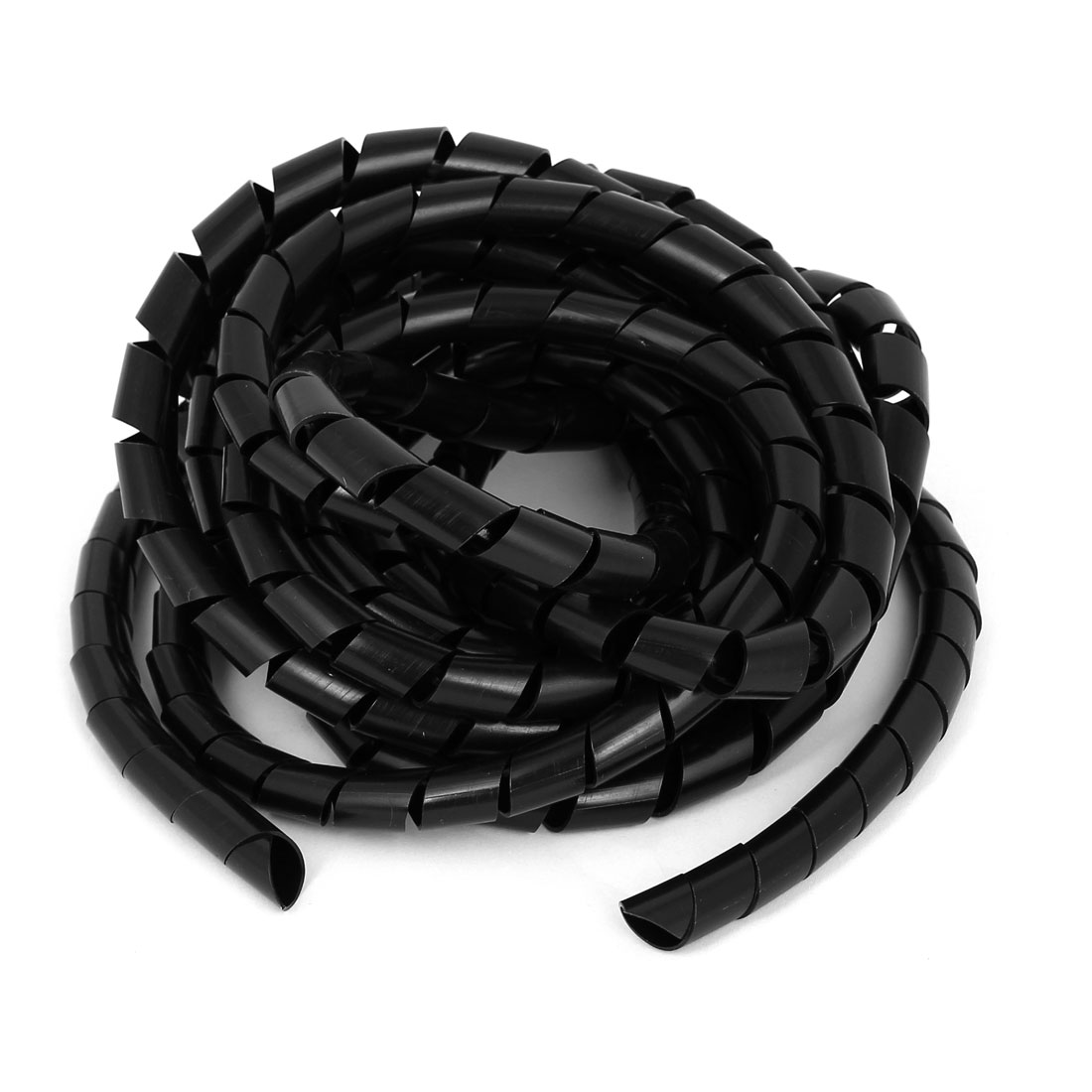 Unique Bargains 12mmx5.5m Spiral Cable Wire Wrap Tube Computer Cinema TV Management Cord Black
