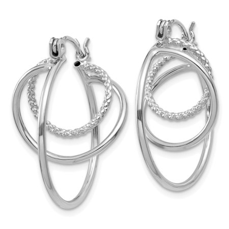 14K White Gold Polished Twisted Circles Hoop Earrings - image 1 of 3