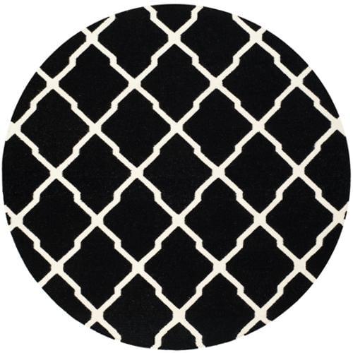 Safavieh Handwoven Moroccan Reversible Dhurrie Black Wool Area Rug (6' Round)