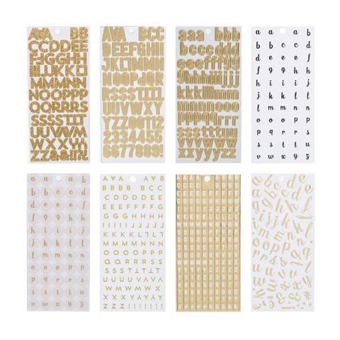 Gold Mini Alphabet Letter Stickers: 1226 pieces