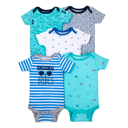 100% Organic Cotton Short Sleeve Bodysuits, 5-pack (Baby Boys)