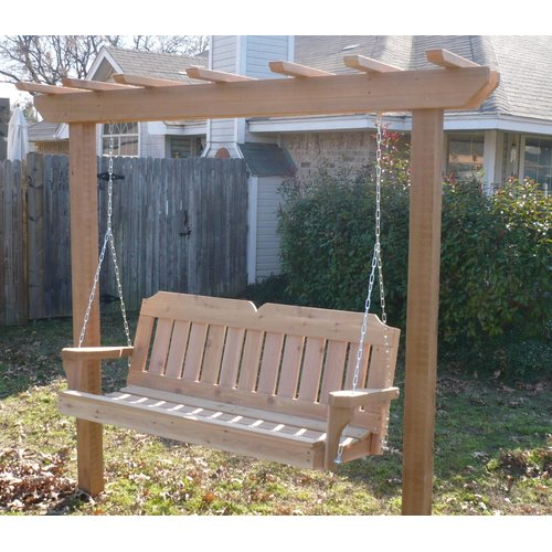 August Grove Donath Cedar Arbor Porch Swing with Stand
